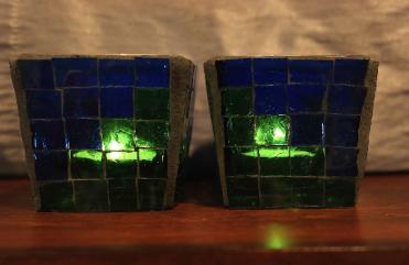 blue green votive set lit 1