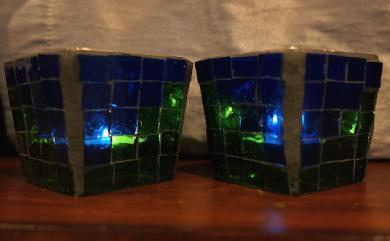 blue green votive set lit 2